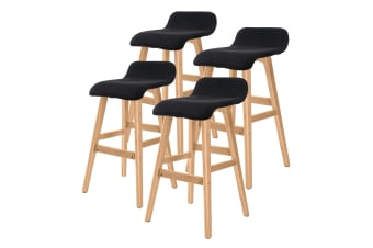 4X 65cm Oak Wood Bar Stool Fabric SOPHIA - BLACK