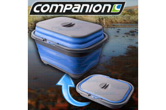 POP UP DISH & CUTLERY TRAY WITH LID & DRAIN PLUG CAMPING CARAVAN COLLAPSIBLE