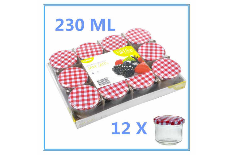 12 x 230 ml Screw Top Preserving Glass Jam Jar CONSERVE JARS Candle Red White Lid WMC