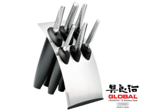 NEW GLOBAL MILLENNIUM STAINLESS STEEL 7 PIECE KNIFE BLOCK SET CROMOVA 7PC