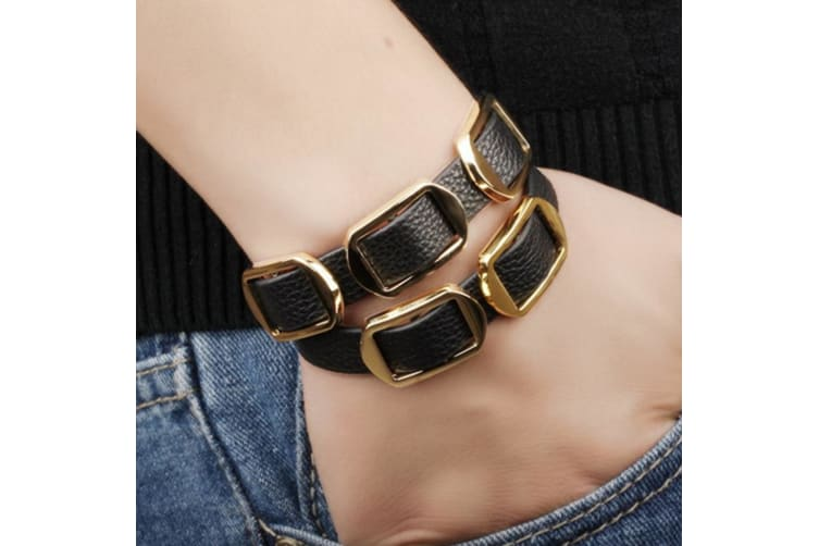 Genuine Cow Leather Wrap Bracelet With 18K Gold Buckle 2-Leather/Black