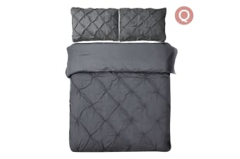 Giselle Bedding Diamond Stitch Quilt Cover Set (Queen/Charcoal)