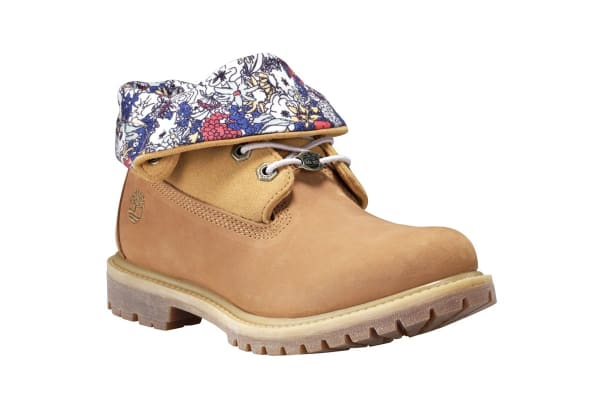 Timberland Women's Authentics Roll Top Boots (Wheat Nubuck Canvas Floral, Size 7 US)