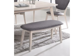Upholstered Dining Bench Seat Chair in White Oak