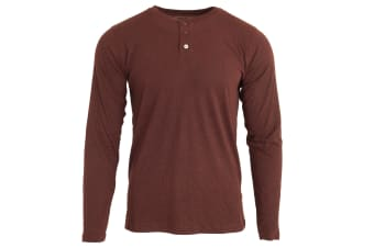Nakedshirt  Mens Aden Henley Long Sleeve T-Shirt (Double Dyed Flame)