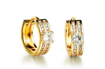 Huggies Earrings Cz Shine-Gold/Clear
