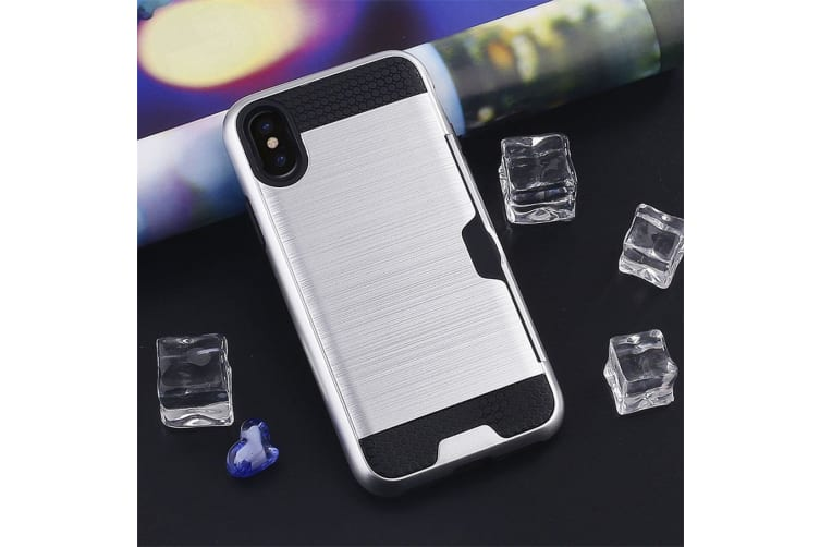 For iPhone XS Max Case Silver Brushed Texture TPU PC Protective Back Cover