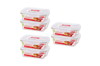 3x 2pc Lock & Lock 650ml Glass Food Meal Prep Container Lunch BPA Free Storage