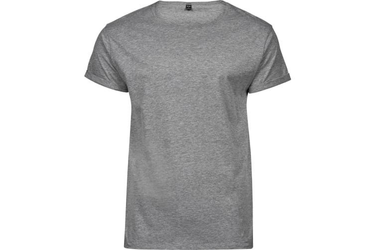 Tee Jays Mens Roll-Up T-Shirt (Heather Grey) (XL)