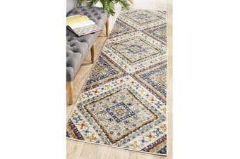 Ivory & Rust Diamond Vintage Look Runner 300X80cm