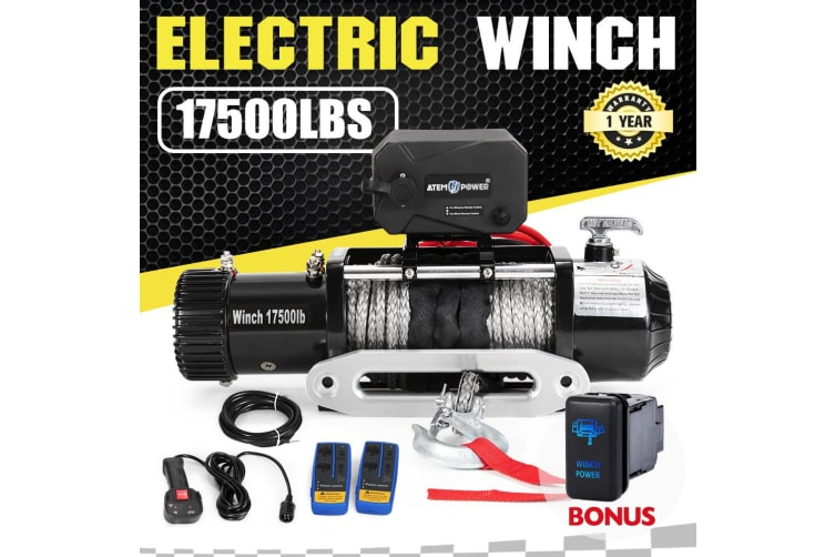 ATEM POWER 17500LBS Wireless 12V Electric Winch Synthetic Rope 4WD Recovery 4X4 w/ Switch