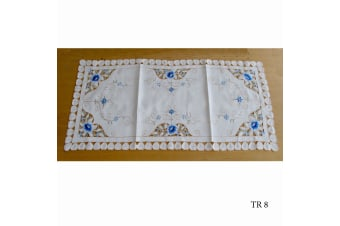 Cream Embroidered Doilies Table Runner TR8