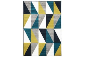 Indoor Outdoor Mica Rug Blue Citrus Grey