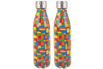 2x Oasis 500ml Water Thermo Bottle Stainless Steel Cold Hot Drink Building Block