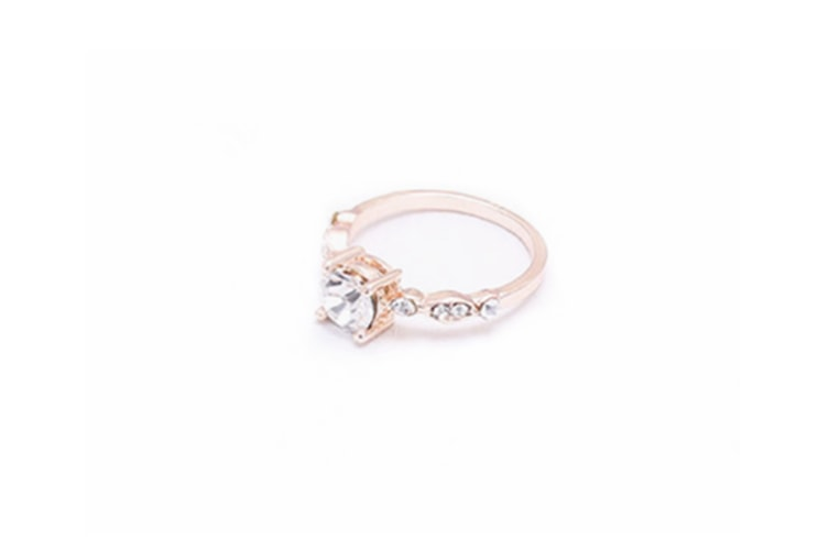 Ladies'Simple Zircon Ring End Finger Ring Jewelry Rose Gold 10