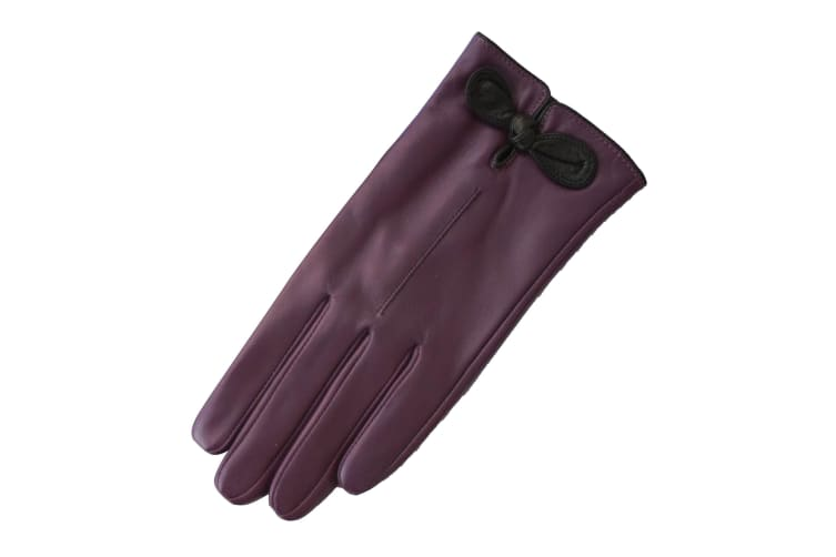 Eastern Counties Leather Womens/Ladies Contrast Bow Leather Gloves (Black/Fuchsia) (M)