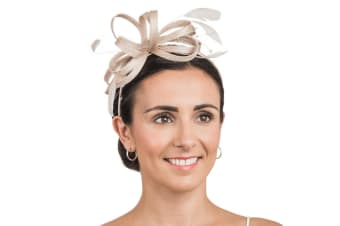 Hawkins Collection Womens/Ladies Bow And Beaded String Detail Fascinator (Oatmeal) (One Size)