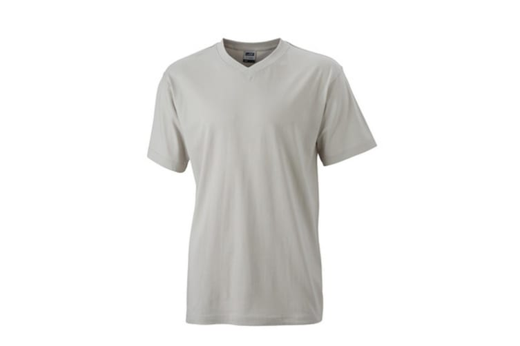 James and Nicholson Mens V Neck Tee (Light Grey) (XL)