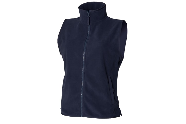 Henbury Womens/Ladies Sleeveless Microfleece Anti Pill Lightweight Jacket / Bodywarmer (Navy) (M)