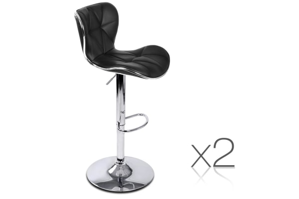 Set of 2 PU Leather Kitchen Bar Stools (Black)
