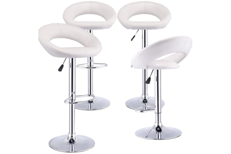 2x/ 4x PU Leather Swivel Bar Stools Kitchen Dining Chair Gas Lift Adjustable  -  4 PCSType H in White