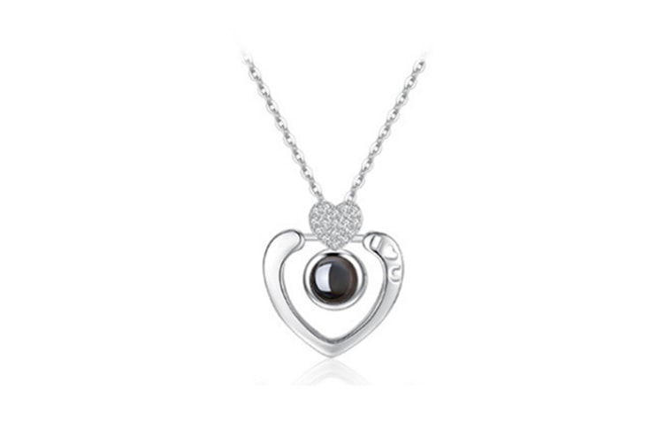 I Love You Pure Silver Memory Bead Pendant Round Necklace Lady White Gold Heart
