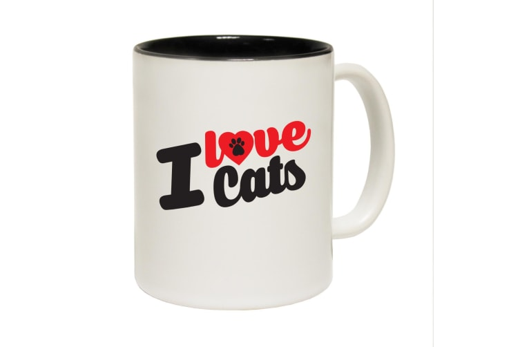 123T Funny Mugs - I Love Cats - Black Coffee Cup