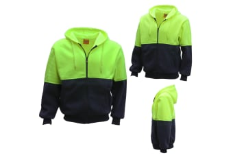 HI VIS Full Zip Fleece-lined Fleecy Hoodie Jumper Safety Workwear Pocket Jacket - Fluro Yellow / Navy - Fluro Yellow / Navy