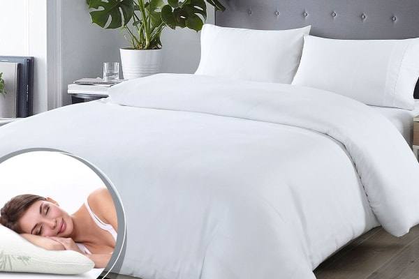 Royal Comfort Blended Bamboo Quilt Cover Set + Bamboo Pillow Twin Pack (Double, White)