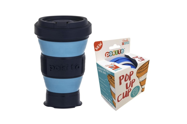 Pokito 475ml Hot Cold Pop Up Cup Collapsible Reusable Travel Eco-Friendly Blue