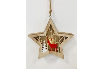 Christmas Star Lantern With Forest Scene (Brown/Red/White) (One Size)