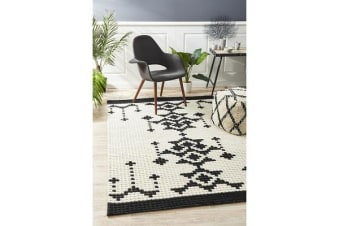 Ryder Monochrome Cross Stitch Wool Rug