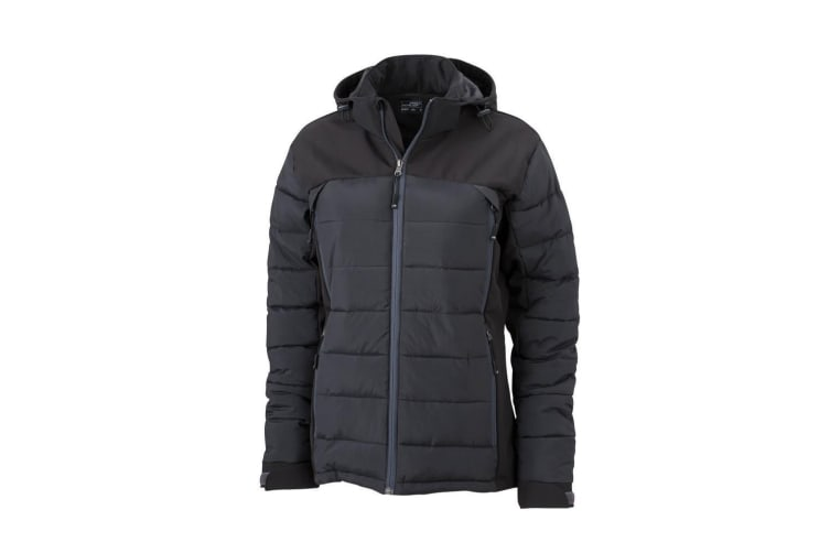 James and Nicholson Womens/Ladies Outdoor Hybrid Jacket (Black) (M)