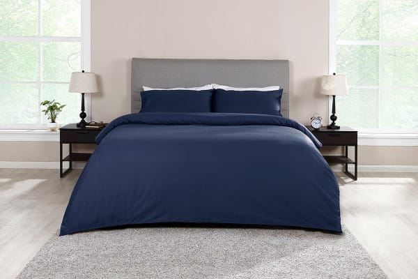 Ovela 1000TC 100% Egyptian Cotton Quilt Cover Set (Queen, Indigo)
