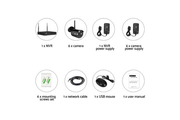 UL-TECH Wireless Security Camera System IP CCTV WIFI 1080P HDMI 8CH NVR Video with 6 Cameras