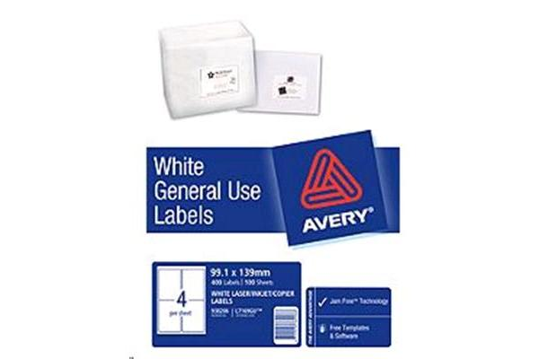 AVERY L7169 General Use Labels A4 4 Labels/Sheet - 100 Sheets