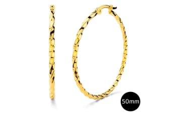 Twisted Hoop Earrings 50mm|Yellow Gold