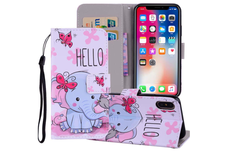 For iPhone XS MAX Cover Leather Folio Wallet Card Slot Case Butterfly Elephant