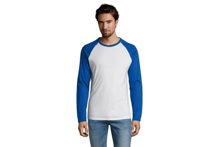 SOLS Mens Funky Contrast Long Sleeve T-Shirt (White/Royal Blue) (XL)