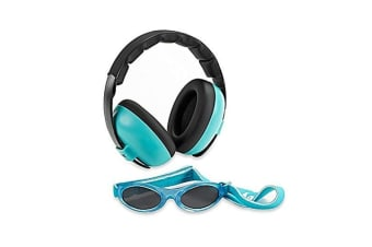Banz Hear/See No Blare Baby Ear Hearing Protection Earmuffs & Sunglasses 3m+ BLU