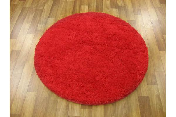 Pack of 3 Freckles Round Shag Rugs Red 60x60cm