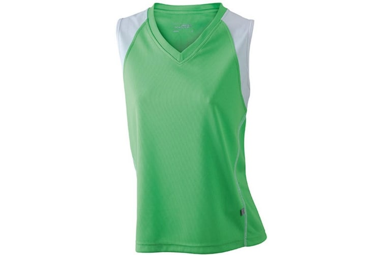 James and Nicholson Womens/Ladies Running Tank Top (Lime Green/White) (S)