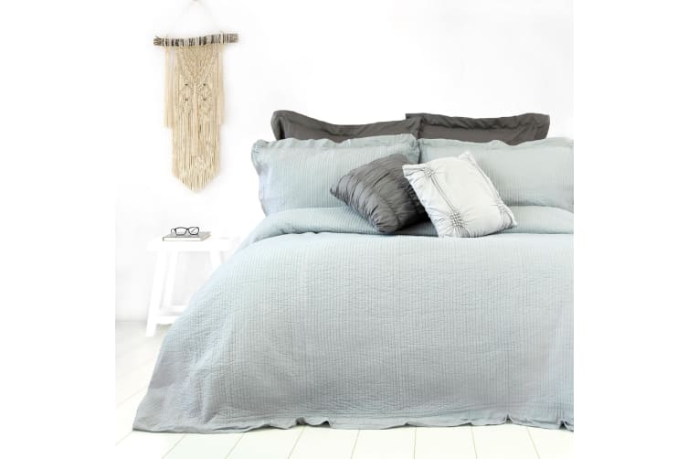 Flinders Washed Cotton Coverlet Set Queen Grey by Ardor