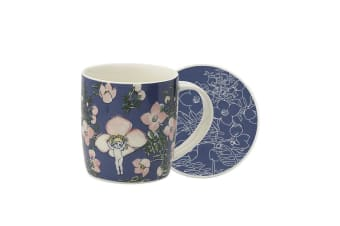 Ecology May Gibbs Mug & Coaster 320ml Flower Babies - Blue