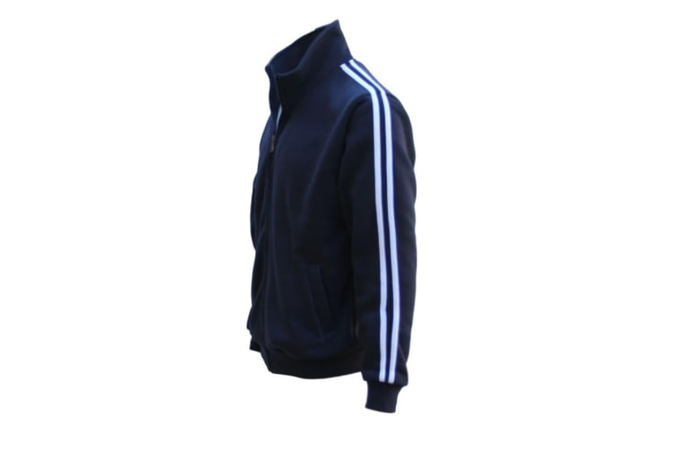 New Men's Adult Zip Up Hooded Casual Sports Sweat Shirt Jumper Hoodie Sweater - Navy