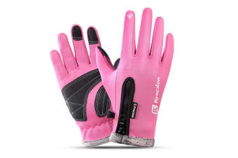 Outdoor Thickened Skiing Cold And Warm Touch Screen Riding Gloves In Winter - Pink Pink Xl