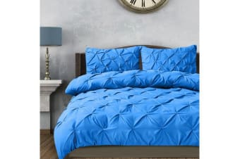 Diamond Pintuck Bed Duvet/Doona/Quilt Cover Sky Blue Queen