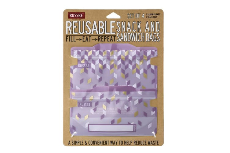 Russbe Snack and Sandwich Bag Set of 4 Metallic Confetti Purple