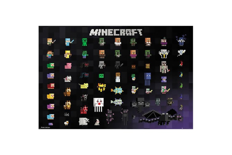 Minecraft Characters Poster (Black) (One Size)