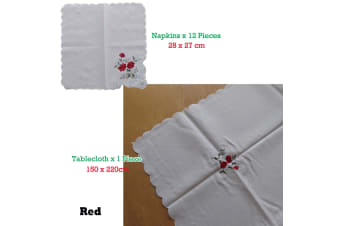 Embroidered White Table Cloth + 12 Matching Napkins Red